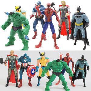 6X Marvel The Avengers Hulk Captain Wolverine Batman Spiderman Figure Collection