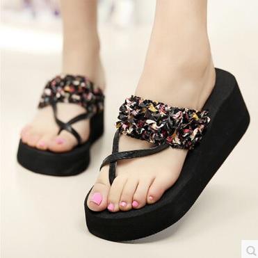 Black Floral Women Sandal Fashion shoes slipsole flip flops heels Sandals Hot Sale Cheap Girl's Shoes