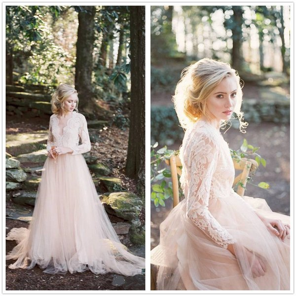 Beautiful Gothic Country Cheap Wedding Dresses Top Lace Illusion Bohemian Tulle Bridal Gowns Summer Open Back Berta Fitted maternity Sleeves