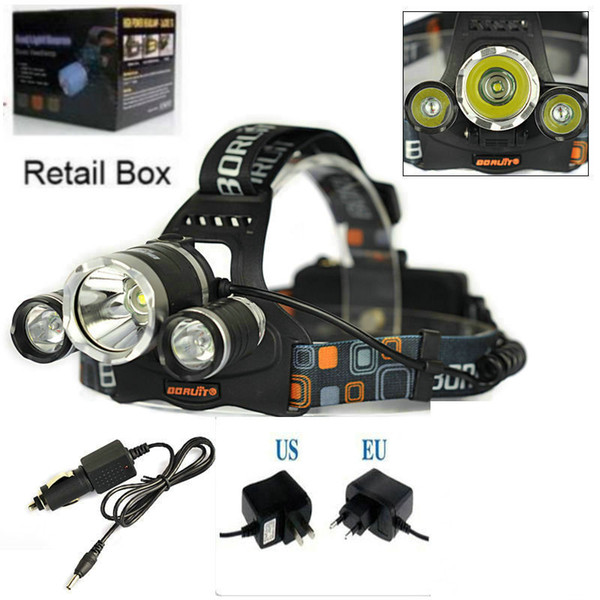 High Power 5000lum CREE XM-L 3x T6 LED Headlight Headlamp Head Lamp Light Torch Flashlight +charger+car charger Free Shipping