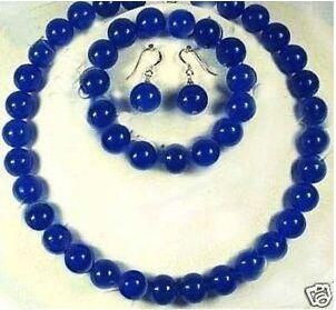 Wholesale cheap Sapphire Royal dark blue jade round stone beads Necklace bracelet earrings set