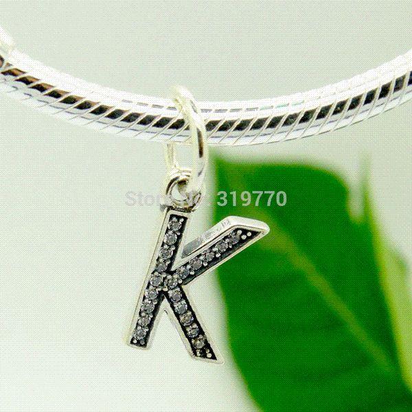 925 Silver Beads Sterling Silver Charms Fits Pandora Bracelet & Necklace DIY Alphabet K with Cubic Zirconia LSaK