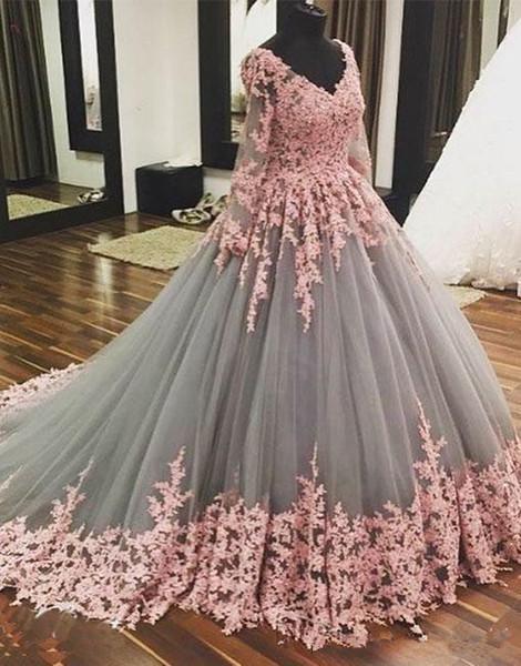 Balo Uzun Kollu Balo Elbise Robe De Soiree Glamorous Akşam elbise 2017 A Hattı Gri Tül Pembe Aplikler Örgün Pageant Parti Törenlerinde