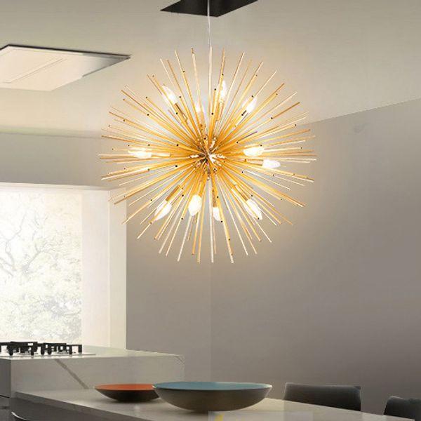 Fabriqué à la main moderne minimaliste Restaurant lampe suspension Golden Tubes Sparks Boules Pissenlit Art Led éclairage Pendentif Lumières