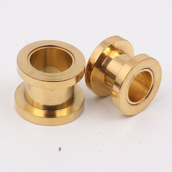 best selling 100pcs lot mix 7 size body jewelry gold stainless steel screw ear plug flesh tunnel