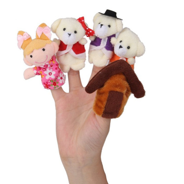 """best selling Story-telling Finger Puppets 5 Pieces pack Goldilocks & the Three Bears """" Nursery Rhyme Fairy Tale kids cloth toys dolls Hand Puppets"""