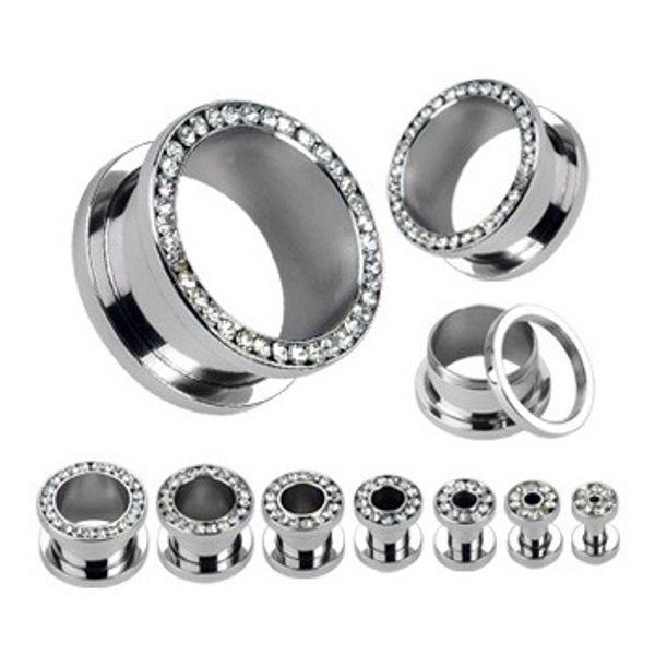 Mezclar 4 ~ 16mm 80 unids / lote Clear Crystal Ear Gauges Flesh tunnel plug Helix Piercing joyería del cuerpo pirsing