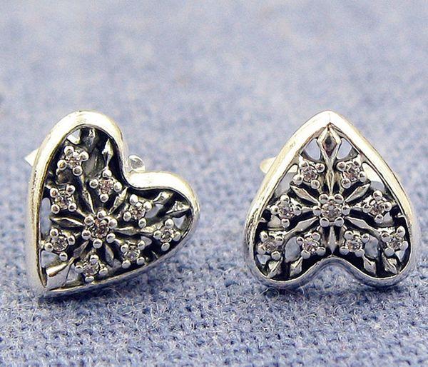 Pendientes de botón de plata de ley S925 de alta calidad 100% estilo europeo Pandora Jewelry Hearts of Winter Stud Earrings with Cz