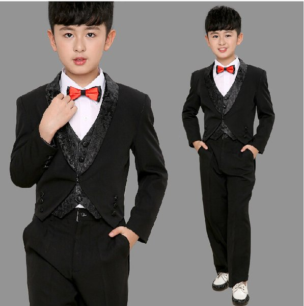 Children tuxedo boy suit clothing flower child's clothing suits performance costume birthday party suits (jacket+pants+vest) Custom made