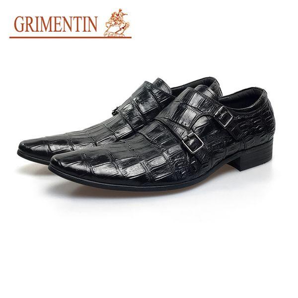 GRIMENTIN Hot sale mens dress shoes Italian fashion black brown men oxford shoes genuine leather double buckle business mens formal shoes YJ