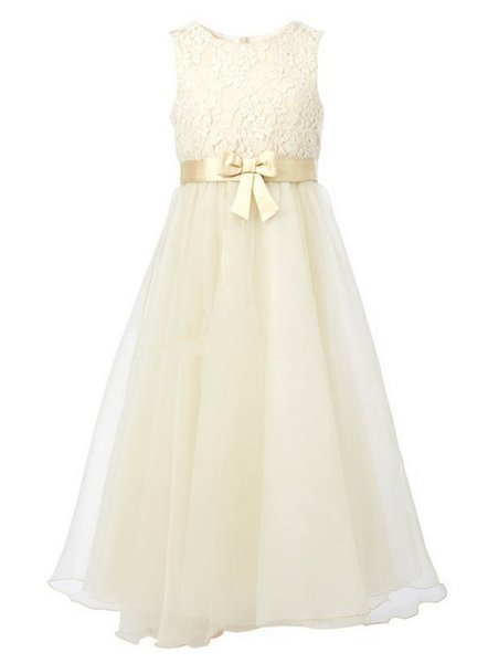 2020 New Arrival Beige Custom Made Lace Cute Princess Party Dress Long Bow Sashes Flower Girl Dresses
