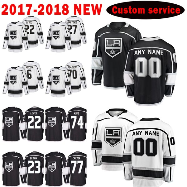 Los Angeles Kings Custom 2017-2018 New 22 Trevor Lewis 27 Alec Martinez Jersey 6 Jake Muzzin 70 Tanner Pearson Men's Hockey Jerseys