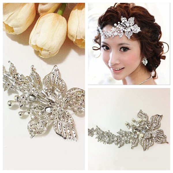 Bridal Silver Crystal Beaded Tiaras & Hair Accessories Frontlet Forehead Ornament Rhinestone For Bride's Wedding Party Floral Beaded 2016