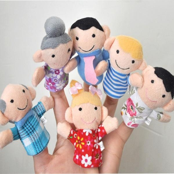 hot sale 2015 family Finger Puppets plush toys Puppets six people family grandparents parents children toys with different chlothes