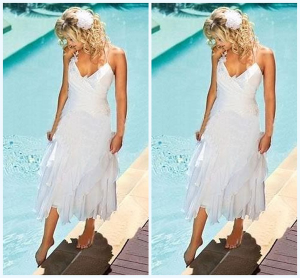 Discount Short Bohemian Beach Wedding Dresses 2015 With Halter Neck ...