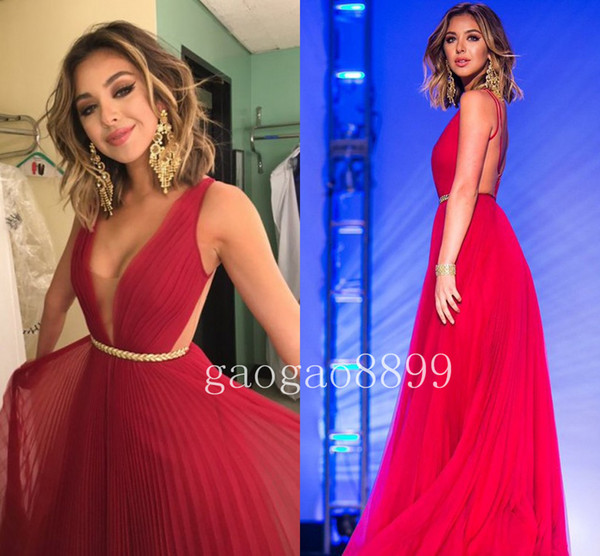 Sexy Bateau floor-lunghezza Chiffon Backless Red Prom Dress 2019 Custom Make Plus Size Beach Party Abiti occasioni speciali