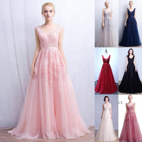 2019 Vestidos De Novia A Line Sexy Deep-V Back Bead Lace Long Tulle Evening Dresses Backless Ribbon Colorful Blush Pink Prom Gowns CPS304