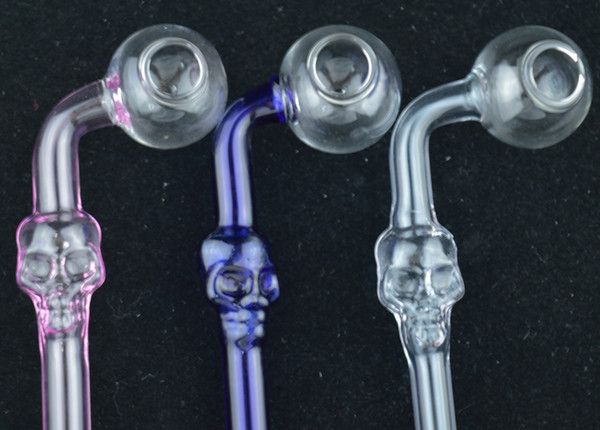 Colored Skull Smoking Handle Pipes Curved Mini 6 inch Length Smoking Pipes Hand Blown Recycler Best Oil Burner Hot Sale Small Pipes