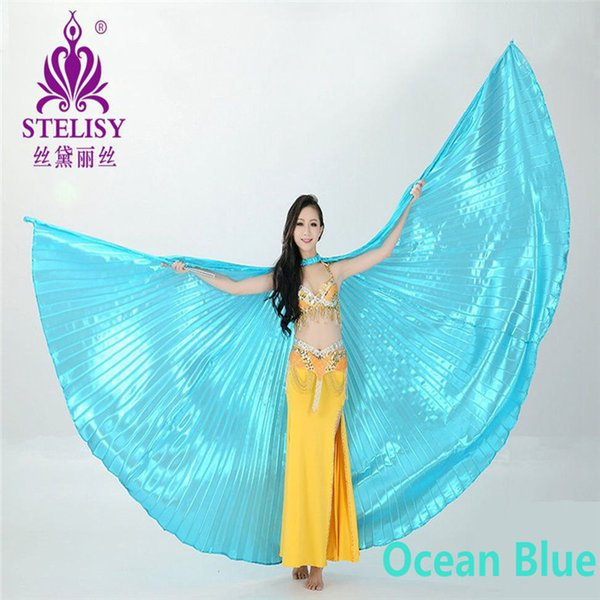 best selling Wholesale-1pcs Gold Egypt Costume Isis Belly Dance Wings Dance Wear Wing With Adjustable Neck Collar Hot Worldwide 11 Colors