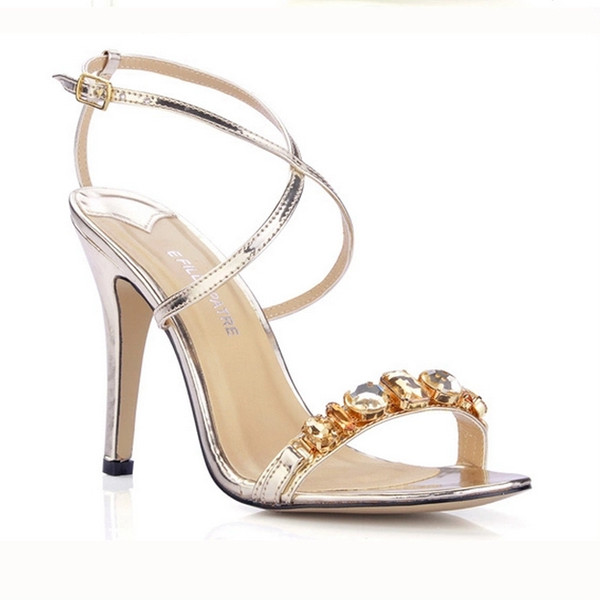 Gold/Silver Crystal Wedding Shoes Ankle Sandals One-strap Summer Style Ladies Sandals Daily OL Sandals For Brides Shoes Large Size 11