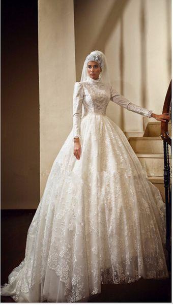 2015 abiti da sposa musulmani abiti arabi ball gown pizzo bordare collo alto maniche lunghe avorio / bianco sweep treno abiti da sposa