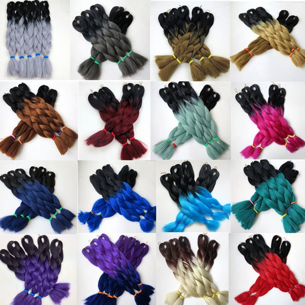 top popular Ombre Synthetic Braiding Hair Crochet Braids Twist 24inch 100g Ombre Two Tone Jumbo Braids Hair Extensions More Colors 2020
