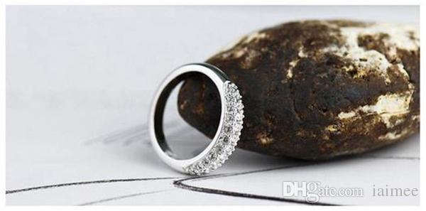Heißer Verkauf Luxus Österreich Kristall Silber Ring 925 Sterling Silber Mit Voller Glänzender Diamant Kostenloser Versand Verschiedene Größe