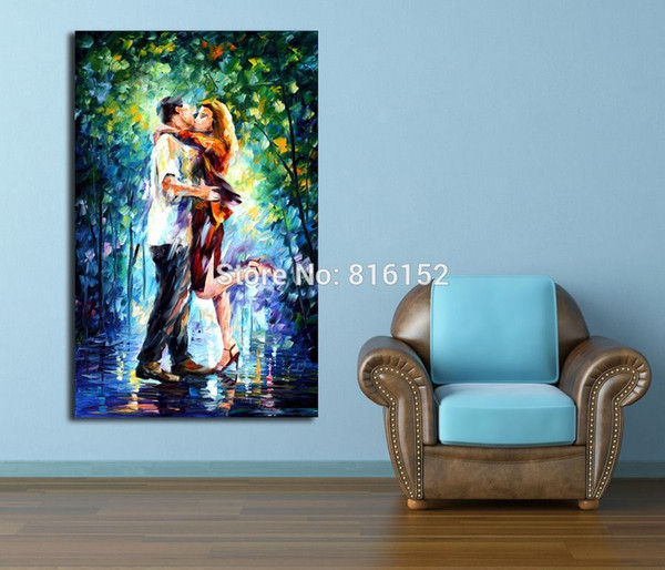 Romantic Lover Walking Snuggle Happy Kiss 100% Handpainted Palette Knife Oil Painting Canvas Handing for Hotel Office Home Decor