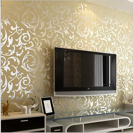 3d European Waterproof Living Room Wallpaper Bedroom Sofa Tv Backgroumd Of Wall Paper Roll Silver Color Wall Sticker
