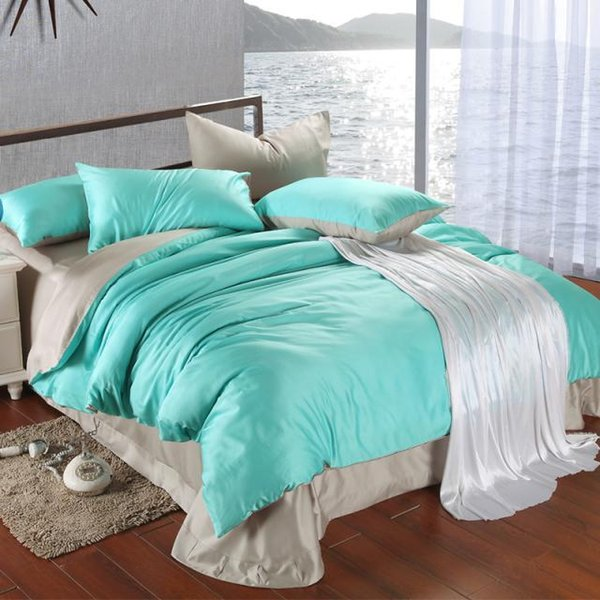 Luxury bedding set king size blue green turquoise duvet cover grey sheets queen double bed in a bag linen quilt doona bedsheets bedlinens