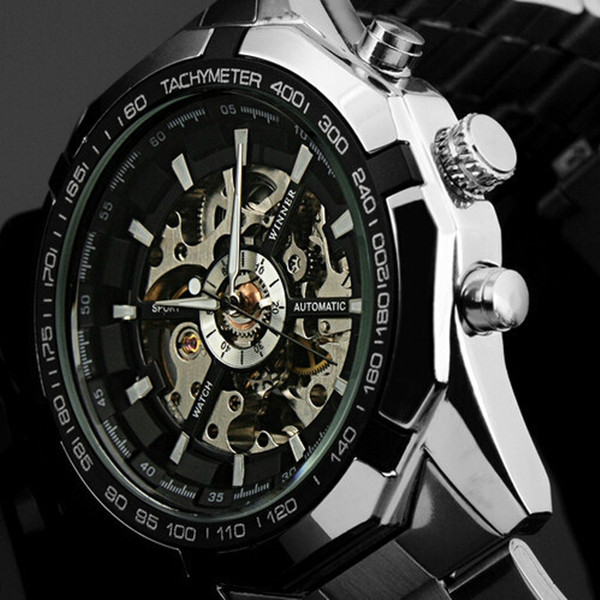 2019 winner brand luxury sport men automatic skeleton mechanical military watch men full steel stainless band reloj, Slivery;brown