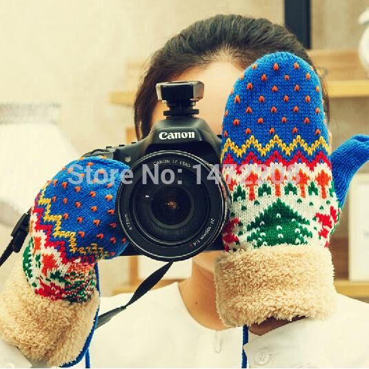 Wholesale-Free Shipping 2015 Women's Winter Thick Woolen Gloves Lady's Cute Winter Knitting Gloves Mittens