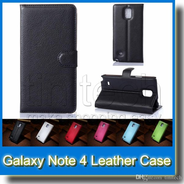 For Samsung Galaxy Note 4 N9100 Wallet Litchi Flip PU leather Case Cover Bag with Card Slots Stand for Samsung Galaxy Note4