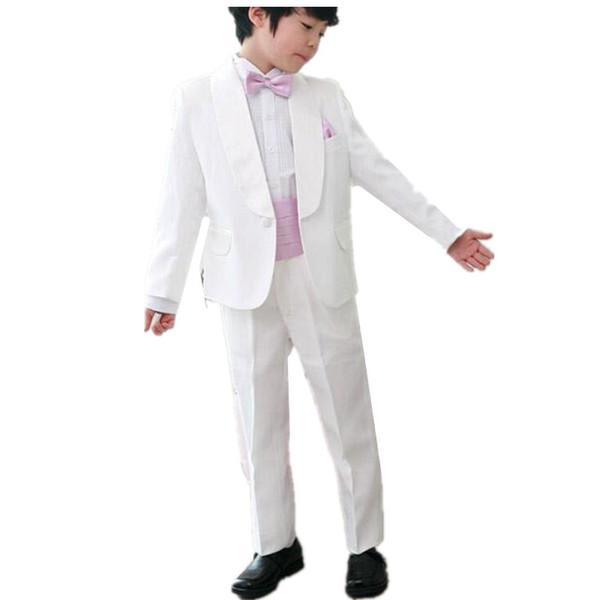 Neue mode jungen blumenmädchen kleid mode junge weiße farbe passt formale anlässe jungen anzüge für hochzeit (jacke + pants + tie)