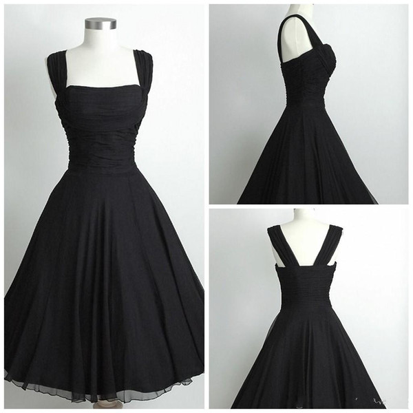 Simply 1950s Black Prom Dresses 2015 A Line Spaghetti Knee Length ...