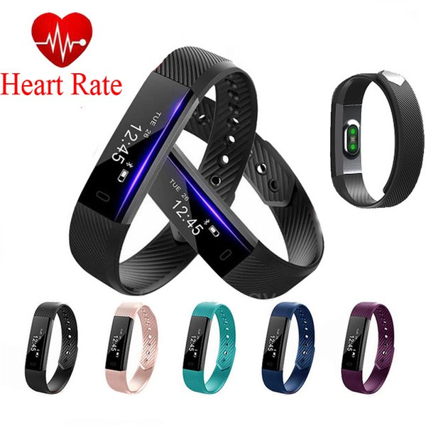 ID115 Heart Rate Monitor Smart Wristband Fitness Tracker Watch Alarm Clock Step Counter Bracelet Bluetooth Sport Sleep Monitor Track