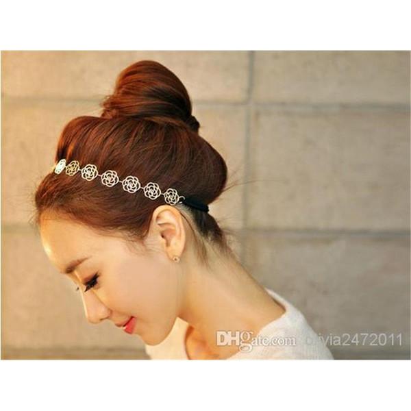 Mode coréenne belle chaîne élastique creux rose fleur étirer la bande de cheveux bandeau métallique Hiar bijoux QC1