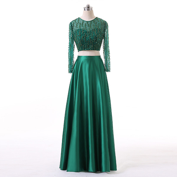 Two Piece Ladies Fashion Dresses Beaded Bodice A-Line Style Emerald Green Satin Evening Dress Free Custom Made