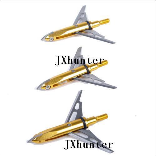 6 piezas 2 cuchillas punta de flecha punta de flecha punta ancha para caza de arco compuesto 100gr en color dorado envío gratis