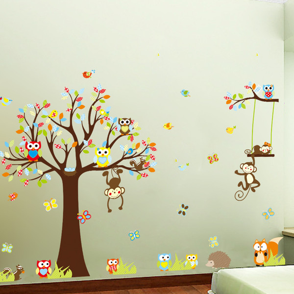 Free Shipping Large XL size Jungle Animals Owls Tree Wall Sticker Squirrel Monkey Bird Vinyl Mural Decal Kids Room Decor