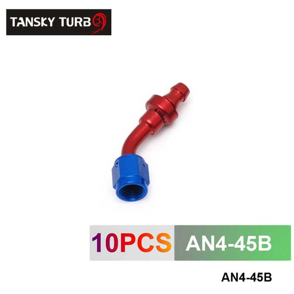 TANSKY - 4AN AN4 4-AN 45 Degree SWIVEL OIL/FUEL/GAS LINE HOSE END PUSH-ON MALE FITTING AN4-45B