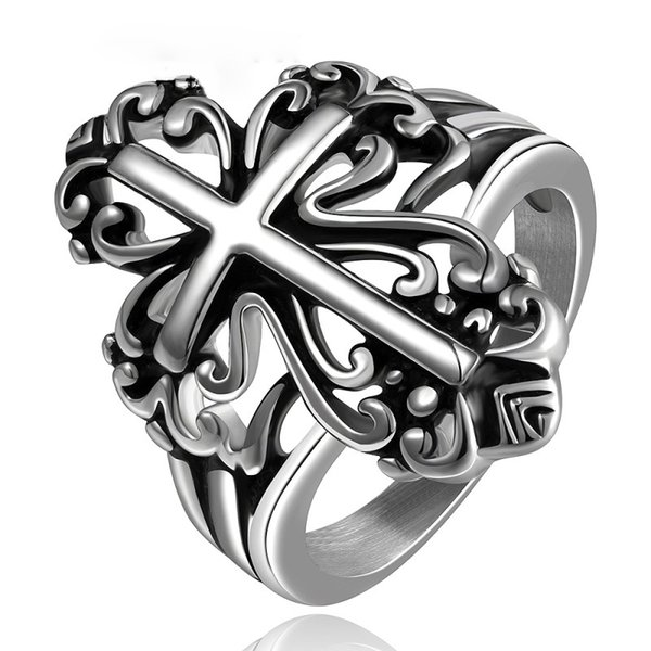 Stainless Steel Rings Gothic Punk Cross Rings Men Stainless Steel Jewelry Vintage Brand Fashion Jewelry Steampunk Men's Rings
