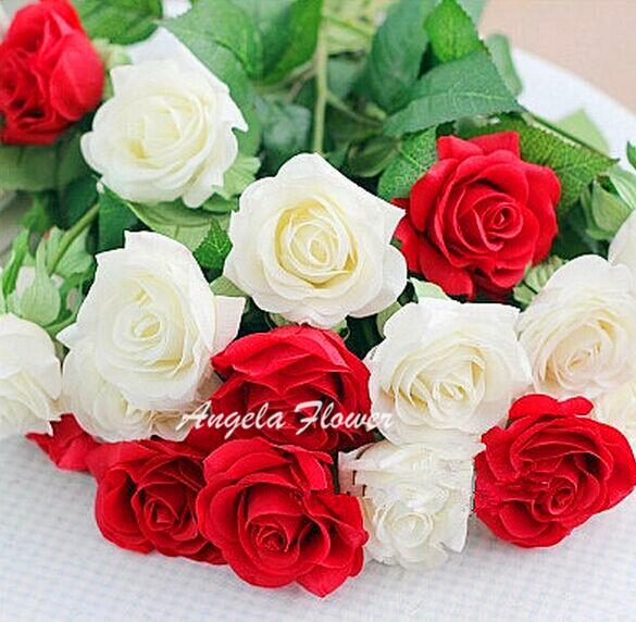 Hot Sale 2015 artificial real touch silk rose flower 12 Color Romantic Decoration For Valentine Home Party Wedding