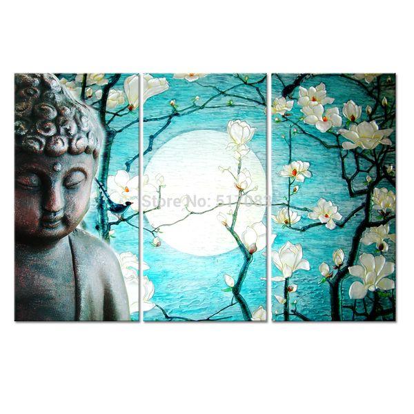 3PCS Buddha Canvas Art,Magnolia Flowers Canvas Painting Home Decor,Regious Art Wall Hanging (unframed)30x60cmx3pcs