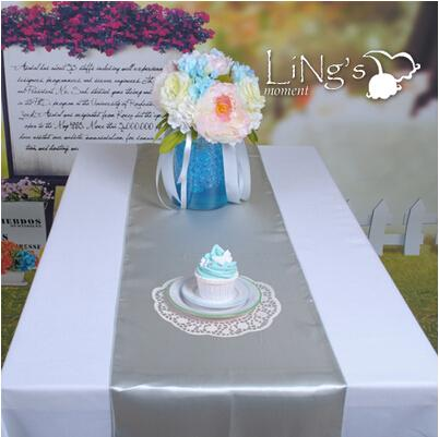Silver 30 cmX275 cm Beautiful Satin Table Runners Wedding Banquet Cloth Runner For Festive Holiday Party Supplies Free Shipping