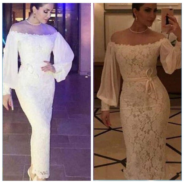 Saudi Arabia Puffy Long Sleeves Lace Prom Dresses 2018 Off Shoulder Formal Party Gowns Mermaid Evening Dress Prom Dresses 2014 Prom Dresses Cheap From