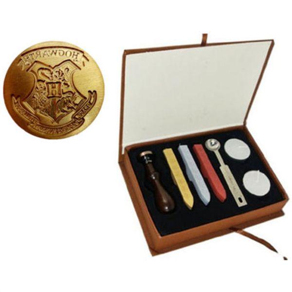 Vintage Harry Potter Poudlard Timbre Sceau Sceau Stamp Set Boîte-cadeau avec 3PCS Wax Stick + 1 timbre