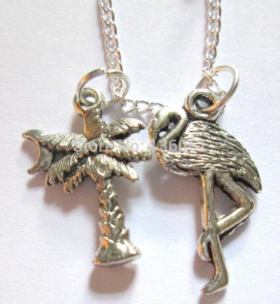 20PCS Art- und Weiseweinlese-Silber-Flamingo-Palme-Baum-Charme-Halsketten-Anhänger-Anweisung Frauen-Halsband-Halsketten-Schmucksachen DIY Q101