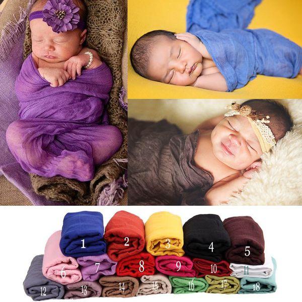 best selling Newborn Muslin solid color Photo props 18 colors infant Swaddle blankets Bath Towel sweet soft gauze Towel