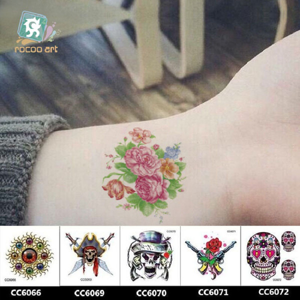 6 6cm Temporary Fake Tattoos Waterproof Tattoo Stickers Body Art Painting For Party Decoration Etc Mixed Colorful Skull Butterfly Custom Temporary